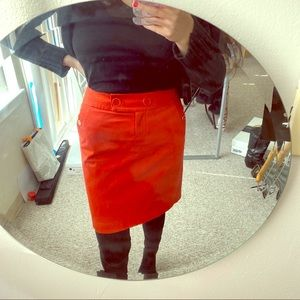 J. Crew Red Structured Cotton Skirt - Small 2P